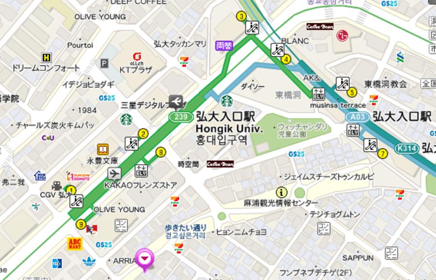 地下鉄2号線「弘大入口駅」9番出口