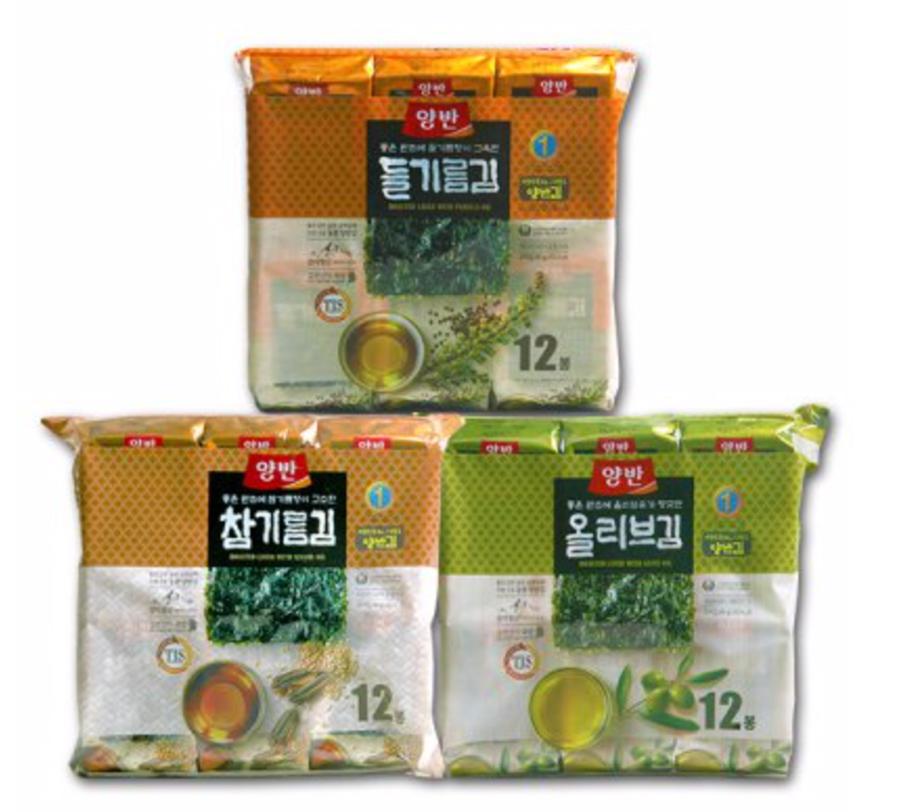 両班韓国海苔3味(ごま油、エゴマ油、オリブオイル)
